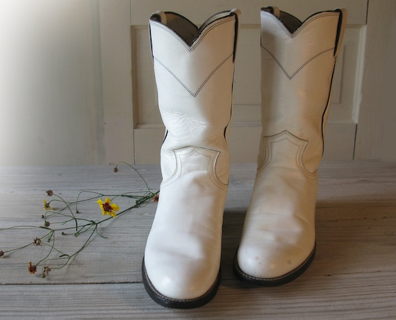 Women's JUSTIN White All Leather Shorty Roper Cowboy Boots, size 6 B