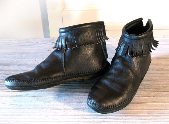 Women S Black Leather Squaw Boots Fringed Moccasins Size