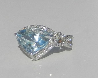 GIA Certified Unheated Estate 6.75 Carat Aquamarine & Diamond Ring 14kt Solid Gold / Appraisal