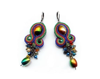 Soutache earrings - shiny, colorful and eyecatchng - Frida