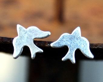 Sterling Silver Post Earrings - Birds Studs