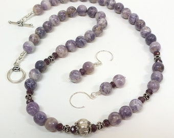 Purple Flower Sugalite Necklace and Earring Set with Bali Silver and Garnet Rondells