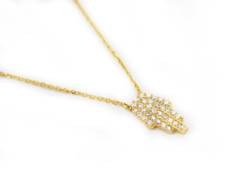 Free Domestic Shipping Sterling Silver with Gold Color Hamsa Necklace Hand, Hamsa, CZ, Religious, Unique, Simple, Gift, For Her, Girlfriend