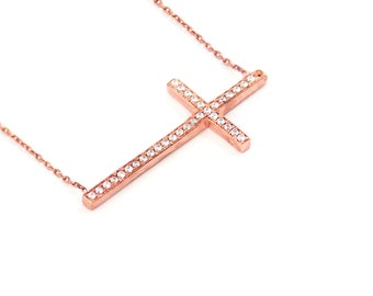 Free Domestic Shipping Sterling Silver Rose Gold Color Sideways Cross Necklace Rose, Pink, Gold, CZ, Religious, Cross, Unique, Gift Necklace