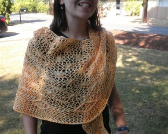 Lace shawl,crescent shape,with beads. Gingerpeach
