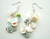 Recycled plastic bottle dangle earrings white with inscriptions - upcycled jewelry, eco friendly, sustainable, with blue green accents