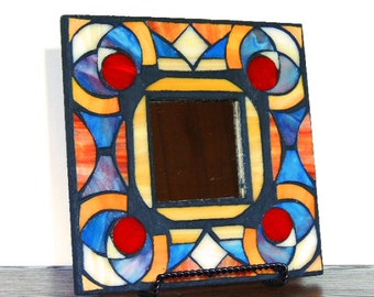 Versatile Ethnic African Stained Glass Mosaic Mirror Frame / Table and Wall