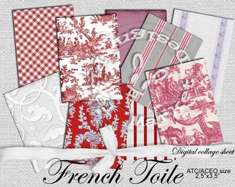 FRENCH TOILE Scrapbooking Paper Atc Printable Download Fabric TEXTURE Tapestry Toile de Jouy Background Digital Collage Sheet Red White c04