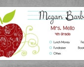 School Envelopes for Kids - Juicy Red Damask Apple with Lime Green Swirls - Set of 10 Personalized - Back to School Organization - Megan*