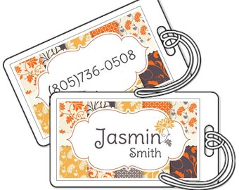 Set of 2 Personalized Bag Tags Laminated - Modern Orange and Yellow