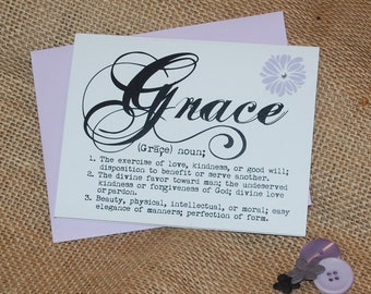 Greeting Card - Definition of Grace with Rhinestones