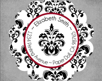 Set of 45 Scalloped Round Return Address Labels in a Tin - Damask Black and White, Red