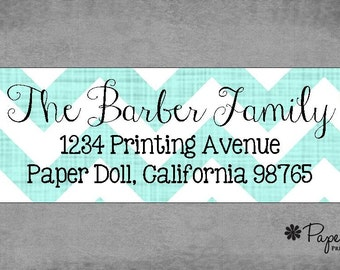 Return Address Labels - Stylish Chevron Labels shown in Aqua Blue - Assorted Colors Available - Personalized Custom - Gifts, Favors, Treats.