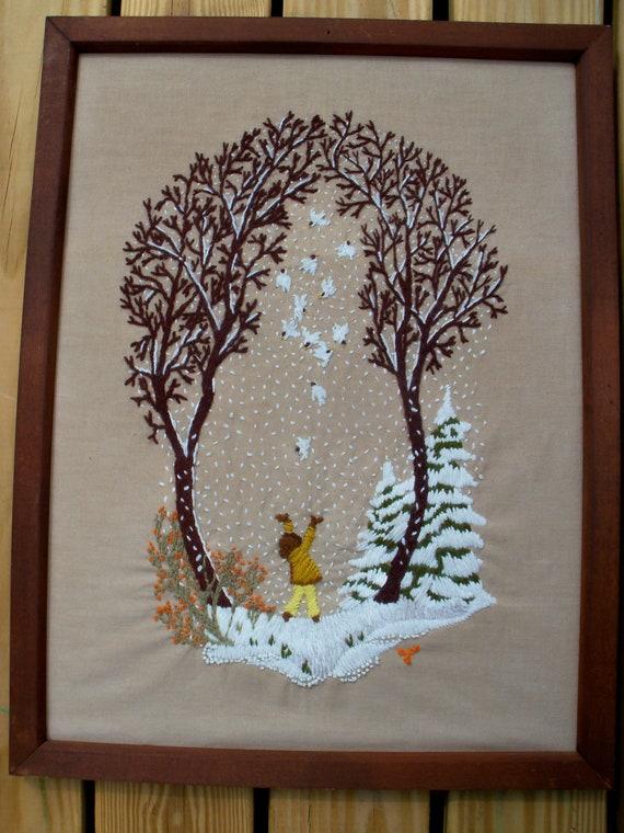 Handmade needlepoint framed art winter scene Free Shipping