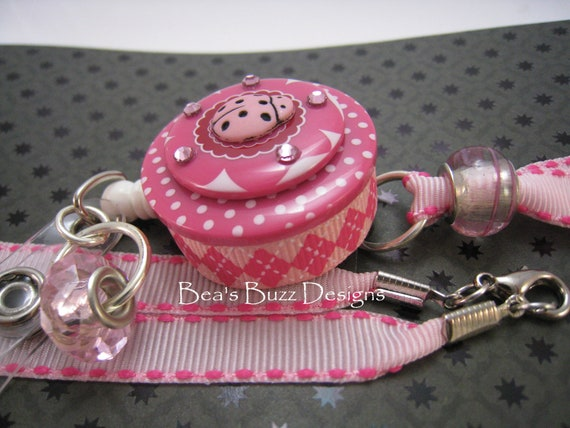 PINK LADYBUG - Retractable Badge Reel, Desidgner Id Badge Holder, Lanyard, Badge Clip, Button Badge Holder, RN, Nurse Jewelry