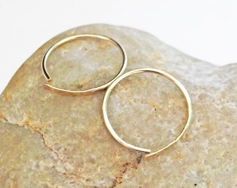 14K Gold Filled Sleeper Hoop Earrings, Small Hammered Hoops, 20 Gauge Gold Hoops, Small Hoop Earrings