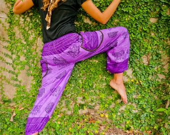 Thai Harem Pants Batik Cotton, Purple w Grey Elephant Design, Ribbon Waistband