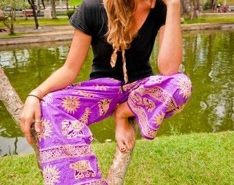 Thai Fisherman Pants, Cotton, Purple w Gold Elephant Print (S-XL) one size fits all