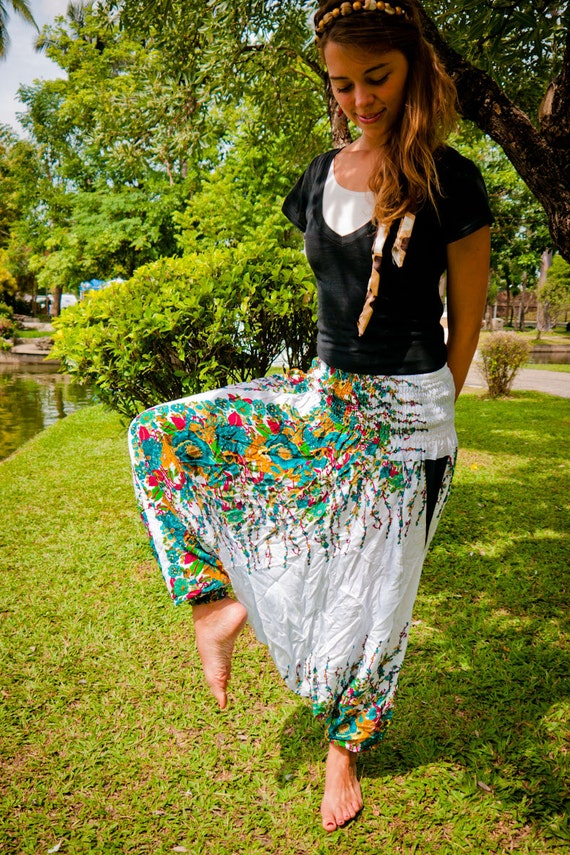 Thai Harem Pants in Cotton, White w Turquoise&Ochre Floral Print (S-XL) One Size Fits All