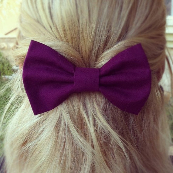 BIG Purple hair bow (S-N-012)
