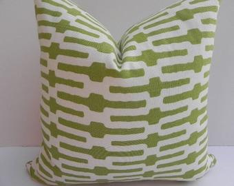 Annie Selke Home 20X20 Geometric Pillow Cover Home Decor Fabric-Green-Off White-Throw Pillow-Toss Pillow