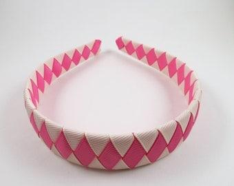 Cream and Pink Headband - Pink Headband - Cream Headband - Ribbon Woven Headband - Braided Headband - Child Teenager Adult Headband