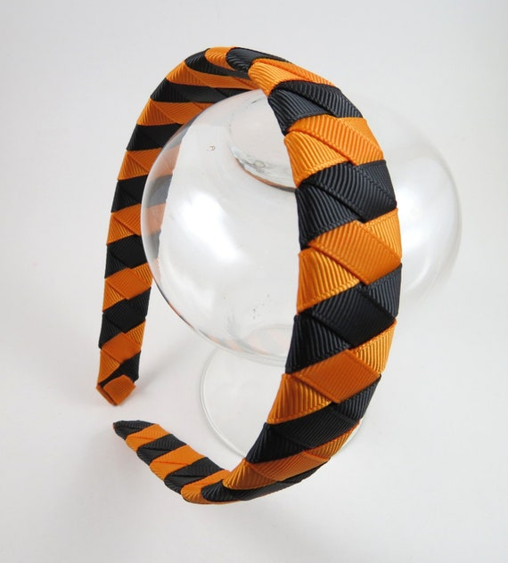 Black and Orange Sriped Headband - Black Headband - Orange Headband - Ribbon Woven Headband - Braided Headband