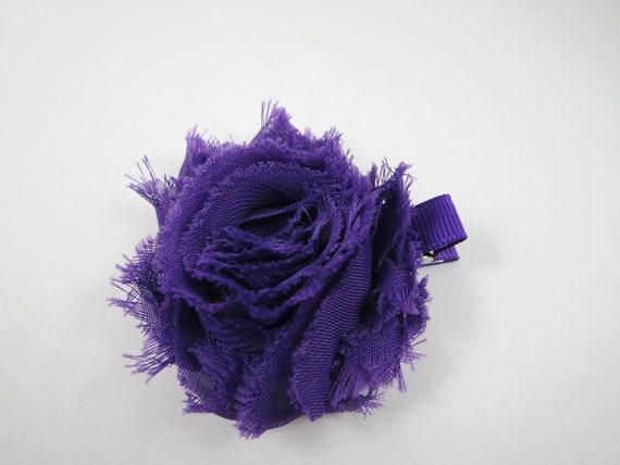 Purple Shabby Flower Hair Bow - Purple Flower Hair Bow - Shabby Chiffon Hair Clip - Infant Toddler Child Teenager Hair Clip
