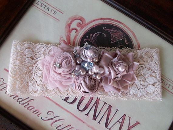 Wedding Garter and Toss- Vintage Heirloom Garter Set- Tea Dyed Garter Set with Pearls and Crystals-- Blushing Rose