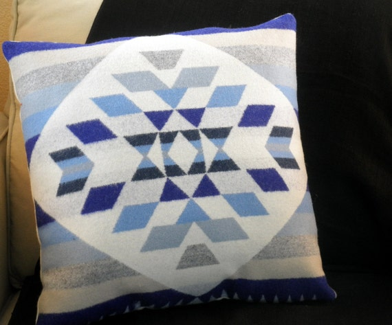 SPECIAL ORDER for Brenna, Pendleton pillow, Tribal brights, chevron basket weave Navajo pattern, blue, purple, grey, cream
