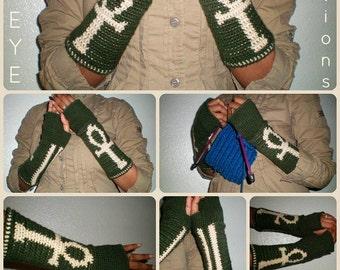 NEXT LIFETIME Crochet Fingerless Gloves - ankh design - Now Made-To-Order