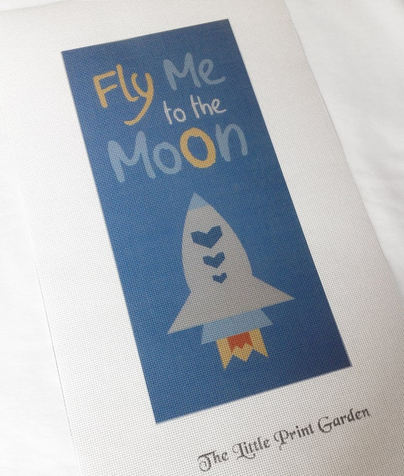 Fly Me to the Moon Needlepoint Canvas