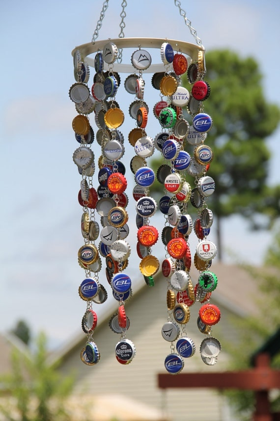 Items similar to bottle cap recycled material windchimes for Wind chimes from recycled materials