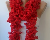 Red scarf, ruffled lace, long accessories, flamenco, can can, ruffle long, fashion, style