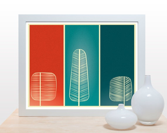 Mid Century Trees Print - Poster modern minimal artwork wall decor nature forest branches office kitchen red teal green tree autumn fall art