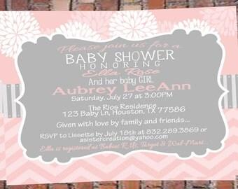 Flowers-Chevron-Pink Girl Baby Shower Invitation-Invite-Shabby-Printable