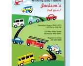 Retro Transportation Birthday Invitation