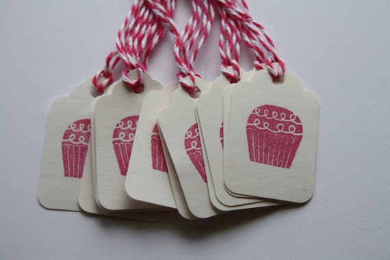 cupcake tags pink and white mini