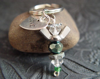 "Reflective Green & Clear Beaded Silver Wingnut ""Love"" Heart Petite Angel Charm Keychain"