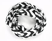 SALE - Chevron Infinity Scarf - Black and White