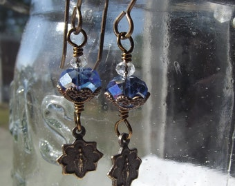 Miraculous Medal earrings w Chinese Crystal