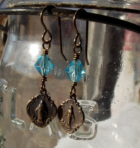 Miraculous Medal Earrings with Vintage Glass Beads Catholic Jewelry