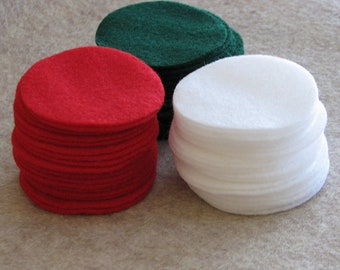90 Pre Cut Felt Circles - 3 inches - Christmas colors.  Red, White, Green.