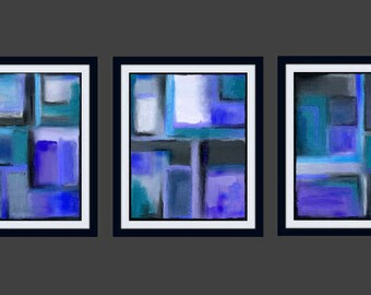 Abstract Art Triptych Squares Geometric Painting Contemporary Modern 16x20 11x14 8x10 5x7 teal green turquoise blue purple periwinkle black