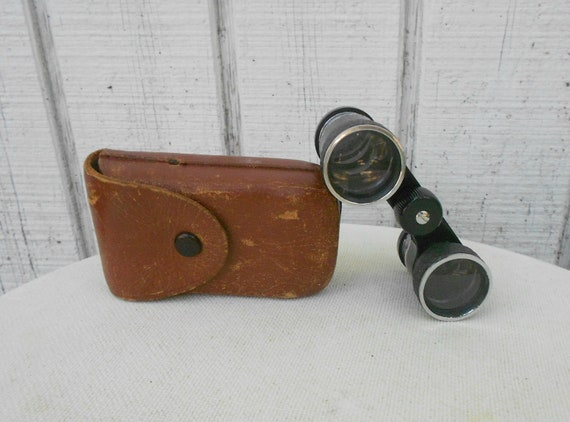VIntage 70s Opera Glasses with Leather Case Small Binoculars