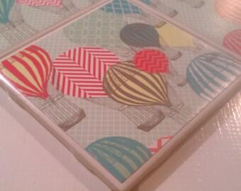 Hot Air Balloon Four Piece Ceramic Tile Coaster Set