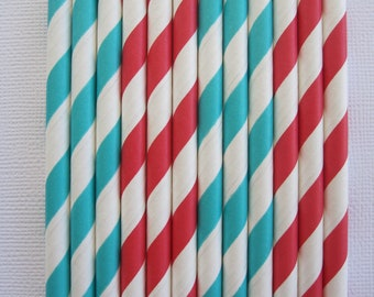 24 Red and Caribbean Vintage Paper Straws