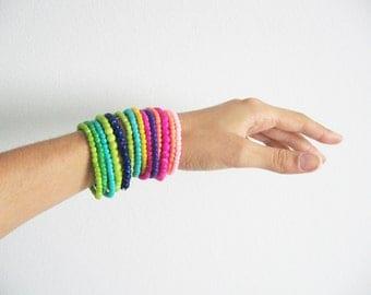 Stack beads bracelet- hot pink, tangerine tango, navy blue colors- funky bracelet