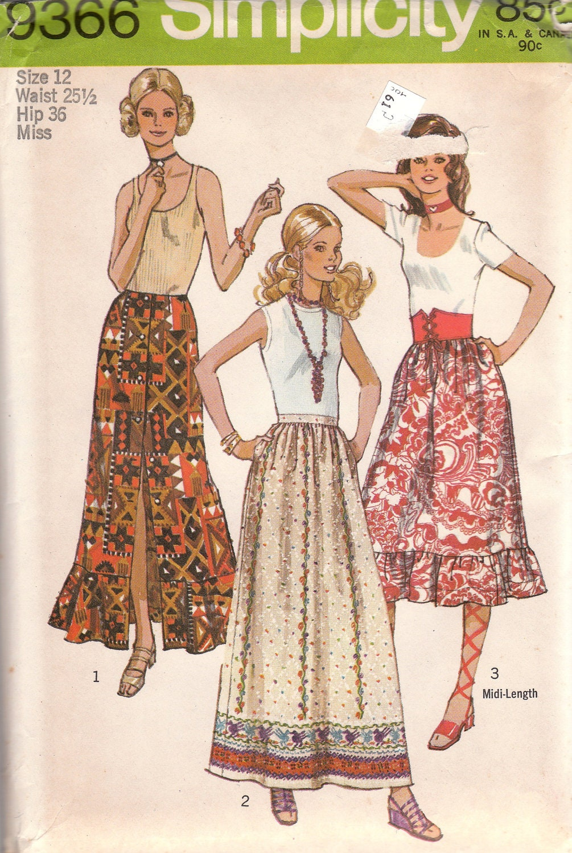 1970s maxi skirt pattern simplicity 9366 size 12 waist 25 1 2