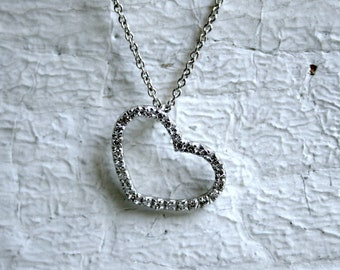 Vintage 18K White Gold Open Heart Diamond Pendant with Chain.